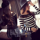 Ladies Sexy  Long Sleeve O-Neck Loose Blouse Casual Top Shirt Asian Size S/M/LXL