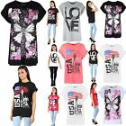 Women Ladies Printed Dimante Stud Butterfly USA Love Baggy TShirt Top Plus Sizes