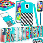 Heavy Duty Hybrid Pattern Rubber Hard Case Cover for Samsung Galaxy S5 SV i9600