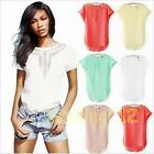 Nice Women's Casual Chiffon Blouse Short Sleeve Shirt T-shirt Summer Blouse Tops