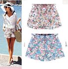 2015 New Ladies Girls Casual Elastic waist Floral Shorts Pants uk Size 8-16