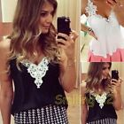 Women's Lace Stitching Sleeveless Strap Chiffon Loose Casual Blouse Top 2 Colors