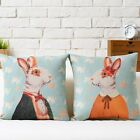 Mr. Rabbit and His Girl Throw Pillow Case Cartoon Decor Cushion Cover Square