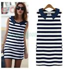 New style Summer Women Sleeveless Blue And White Striped Casual GIrl Mini Dress