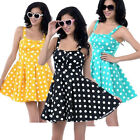 Womens Retro Tank Strap Cherry 50s 60s Rockabilly Polka Dot Swing Evening Dress