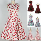 Ladies Vintage 50s Rockabilly Sleeveless Cherry Swing Evening Party Fromal Dress