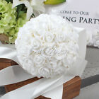 Fashion Handmade Rose Silk Flower Rhinestone Bridal Wedding Bouquet Decoration