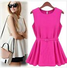 Womens Fad Sleeveless Pleated Chiffon Summer Peplum Belt Top Blouse Shirt USTB