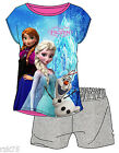 Girls Frozen Short Pyjamas, Official Disney Photo Print T Shirt & Shorts PJs Set