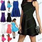 Womens Ladies Sleeveless Strappy Cami Flared Swing Mini Skater Dress Plus Sizes