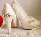 New Womens fashion white pearl bow bud silk lace bride wedding high heel shoes