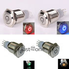 16mm 12V Car Auto Led Colour Metallic Power Symbol Push Button Latching Switch