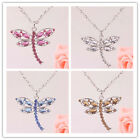 In 5 Color Hot Women 14K Gold Filled Austrian Crystal dragonfly Necklace Jewelry