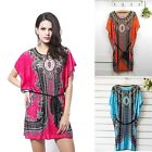Vintage Women's Bohemian Casual Ice Silk Mini Dress Bat Sleeve Blouse Tops - CB