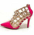 Women's Zip Hollow Out Shoes Real Leather High Heel Pointed Sandals UK Size S094