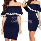 Sexy Summer Strapless Bardot Bodycon Lace Trim Casual Party Evening Mini Dress