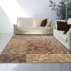Transitional Floral Leaves Block Nature Area Rug Multi-Color Casual Vine Petals