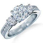 Classic 3 Stone Ring Size 6/7/8/9/10 White Lady's 10Kt White Gold Filled Wedding