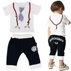 Handsome Baby Kids Boy Bow tie Clothes Suit Outfits Checked Shirt +Pants 2pc set