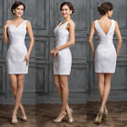 Sexy V-Neck Lace Bridesmaid Ball Gown Formal Evening Short Prom Pencil dresses