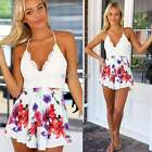 Women V-neck Lace Backless Floral Strap Playsuit Jumpsuit Rompers Dress Shorts Y