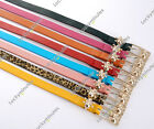1PC Lady Women Girl Punk Cool Skull Gold Metal Buckle Skinny Slim Belt Waistband