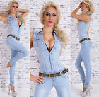 Women's Light Washed Stretch Denim Jeans Jumpsuit Overall + Belt - S / M / L / XL