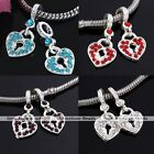 5x Silver Plated Crystal Lock Heart Dangle Charm European Bead Fit Bracelet DIY
