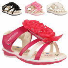 GIRLS SANDALS KIDS INFANTS TODDLERS SUMMER DIAMANTE FLOWER BEACH SHOES SIZES