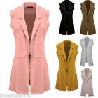 Ladies Sleeveless Waistcoat Long Cardigan Womens Coat  Uk Size 8 - 14