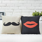 Cute Bearded Lips Pillow Case Sofa Decor Cushion Cover Square Linen Wedding Gift