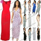 Womens Ladies Printed Sleeveless Plunge V Neck Long Ruched Vest Maxi Dress Top