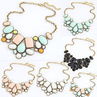 Big Statement Crystal Flower Pendant Necklace Chunky Bubble Choker Collar Chains