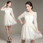 Fashion Elegant Women White Lace Dress Wedding Party Ball Gown Dresses Plus Size