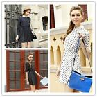 Stylish Modern OL Women's Chiffon Cocktail Long Sleeve Slim Lapel Dot Dress - CB