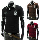 Mens Short Sleeve Slim Fit Polo Shirt Tops Designed Stylish Casual T-shirts Tee