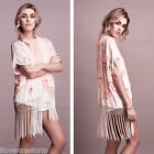 Ladies Sequin Embellished Tassel Floral Kimono Womens Cardigan UK Size 8 - 14