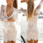 Sexy Women Deep V  Summer Holiday Boho Evening Party Dress Beach Dresses Lace
