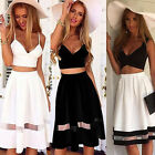 Sexy Womens Two Piece Crop Top Midi Skirt Summer Beach Holiday Party Celeb Dress