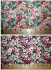 Rose floral cotton poplin ~ choice of colours & lengths ~ ideal clothing crafts