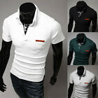 Mens Casual Slim Fit Short Sleeve T-Shirts Fashion Summer Polo Tops Tee Blouses
