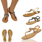 Womens Flat Gladiator Sandals Diamante Party Bridal Casual Ladies Shoes Size 3-8