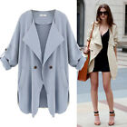 Fashion Hot Women Lapel Parka Casual Long Trench Coat Jacket Overcoat S-XXXXL