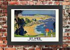 TX367 Vintage St.Ives Cornwall Riviera Framed Travel Railway Poster A3/A4