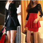 Sexy Women Skirt Long Sleeve Lace Mini Clubbing Cocktail Party Dress S M L Red