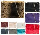 LADIES FLAT CLUTCH BAG EVENING PONY SKIN LEOPARD FAUX FUR FASHION SHOULDER BAG
