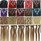 "18""7PCS Clip in Remy 100% Human Hair Extensions Straight 24Colors 120g Full Head"