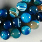 8mm Blue Stripe Agate Onyx Gem Round Loose Bead 15""