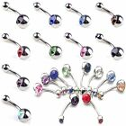 NEW 10pcs Crystal Rhinestone Belly Button Ring Navel Bar Body Piercing Jewelry