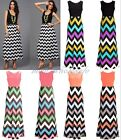 Pop Women's Summer Sleeveless Long Boho Chevron Maxi Dress Party Cocktail Dress